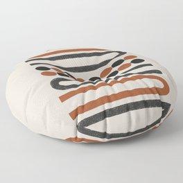 Abstract Modern Lines, Burnt Orange Art Floor Pillow
