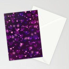 Pretty Purple Bokeh Love Hearts Stationery Cards