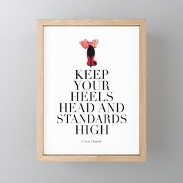 QUOTE, Keep Your Heels Head And Standards High,Chanel Wall Art,Girls Room Decor,Fashion Print,Fashio Framed Mini Art Print
