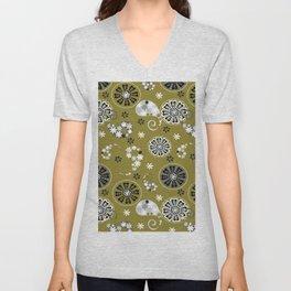moss green paisley Unisex V-Neck