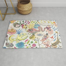 maximalism maximalist pastel pencil surreal fantasy Rug