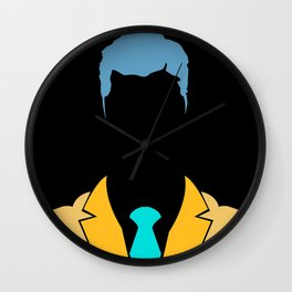 business man in face mask close up illustration isolated on white Wall Clock