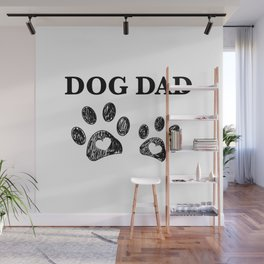 Paw print with hearts. Dog dad text. Happy Father's Day background Wall Mural