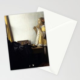 Johannes Vermeer - Woman with a Pearl Necklace Stationery Cards