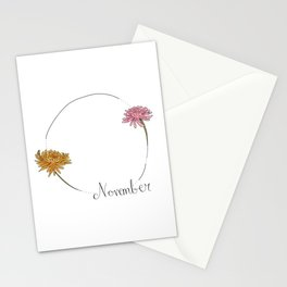 November - Flower Months  Stationery Cards