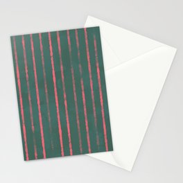 Modern Hand-painted Stripes in Bright Coral and Petroleum Green colors, Abstract Painting Stationery Cards