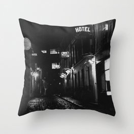 Paris, France city lights, hostel, hotels left bank side streets black and white photograph Throw Pillow