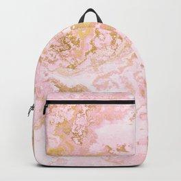 Rose Gold Metal Foil on Pink Marble  -  Summer Girl I Backpack