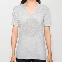 Gray Circle of Life Mandala on White Unisex V-Neck