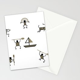 Mural cave man primeval stone age gift Stationery Cards