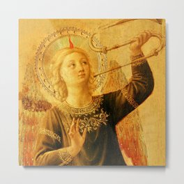 """Fra Angelico (Guido di Pietro) """"Music-making angel, Detail from the Linaioli Tabernacle"""" 1. Metal Print"""