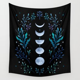 Moonlight Garden - Blue Wall Tapestry