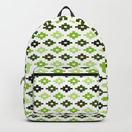 Geometric Flower Cross Stitch Appearance - Sage Olive Green On White Backpack
