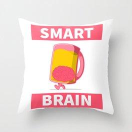 brain inside a beer mug Throw Pillow