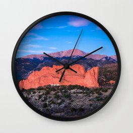 Pikes Peak - Sunrise Over Garden of the Gods in Colorado Springs Wall Clock