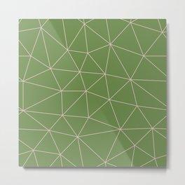 Green Background Triangular Pink Lines Metal Print