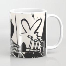 Herbie's Tune, Abstract Jazz Instruments Black and White Block Print Coffee Mug