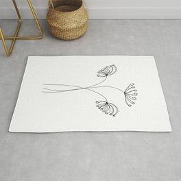 Minimal Line Art Flowers II Rug
