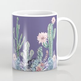 Desert Cactus Succulents + Gemstones on Deep Purple Coffee Mug