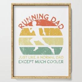 Running dad jogging dad marathon runner father day Serving Tray