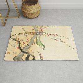 Songbird on peach tree - Vintage Japanese Woodblock Print Art Rug