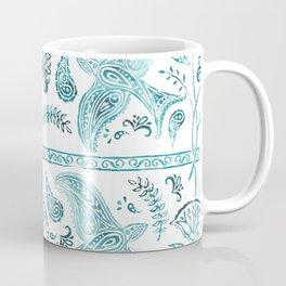 Watercolor Bird Border Decorated Floral Spiritual Allover Print Design Coffee Mug