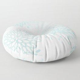 Festive, Floral Prints, Soft Teal, Mint Green and White, Modern Print Art Floor Pillow