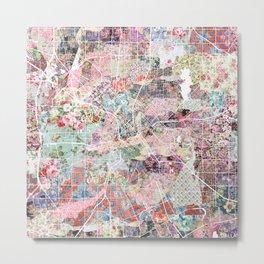 Dallas map flowers Metal Print