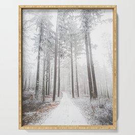 Mysterious road in a frozen foggy forest Serving Tray