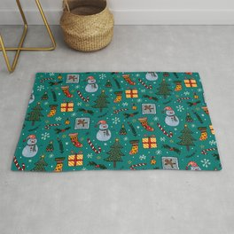 Christmas Holiday Teal Rug