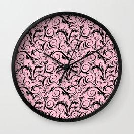 Pink & Black Flourish Pattern Wall Clock