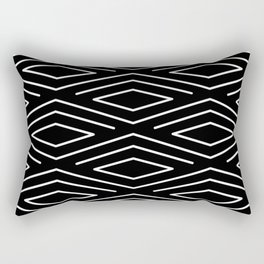Abstract Black and White Diamond Geometric Pattern Rectangular Pillow