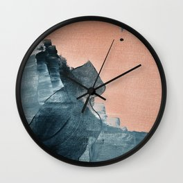 Renew: a minimal abstract piece in coral and blue by Alyssa Hamilton Art Wall Clock