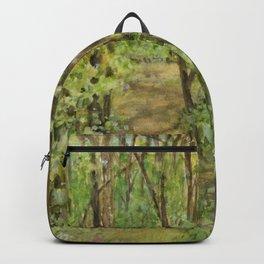 Wooded Path Watercolor Landscape Detailed Realism Backpack