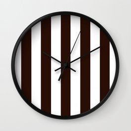 Root beer black - solid color - white vertical lines pattern Wall Clock