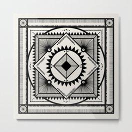 Western tribal square mandala 2- black on neutral Metal Print