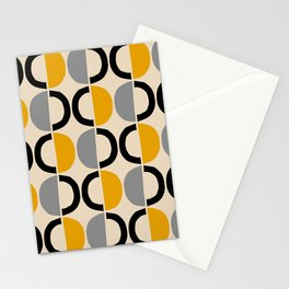 Mid Century Modern Half Circle Pattern 547 Beige Black Gray and Yellow Stationery Cards