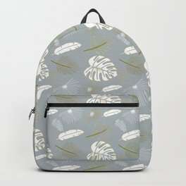 Gray Tropical leaf pattern  Backpack