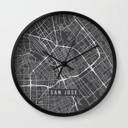 San Jose Map, USA - Gray Wall Clock