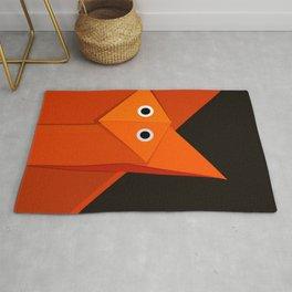 Dark Geometric Cute Origami Fox Rug