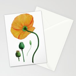 Yellow poppy Stationery Cards