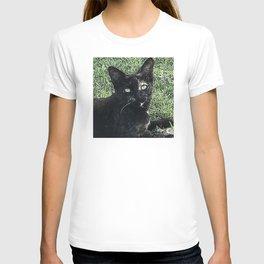 Island Cat Relaxing in Tropical Grass T-shirt