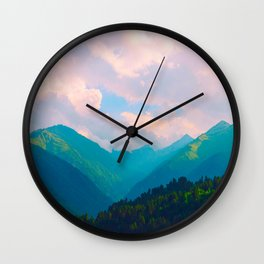 Pastel Mountain Range Valley Pink Blue Green Turquoise Wall Clock