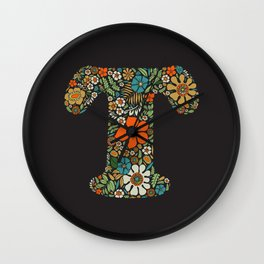 Hippie Floral Letter T Wall Clock