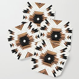 Urban Tribal Pattern No.5 - Aztec - Concrete and Wood Coaster