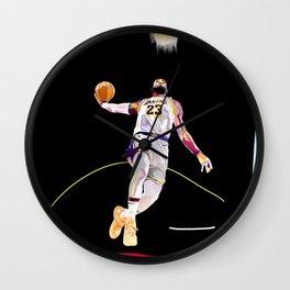 LeBron // King James Lebron basketball player, sports-star, and baller dunking on a basketball goal Wall Clock