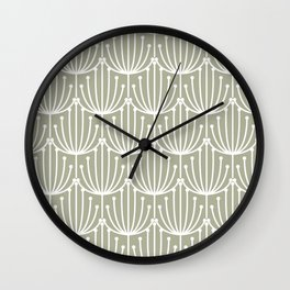 Retro Art, Floral Prints, Light Sage Green and White Wall Clock