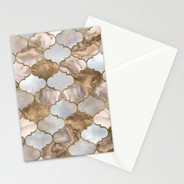 Moroccan trellis White marble and gold Stationery Cards