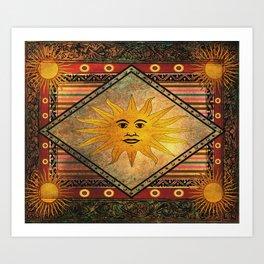 Sun Hippie Bohemian Vintage Festival Retro Kunstdrucke