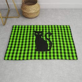 Black Cat on Luminous Green and Black Gingham Check Rug